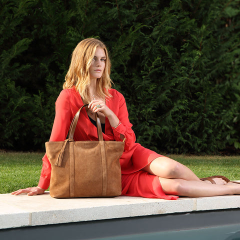 Suede Leather Shopper - Cognac