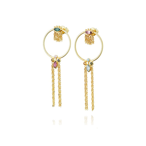 Earrings Gold & Zirconium Multi Beads Long
