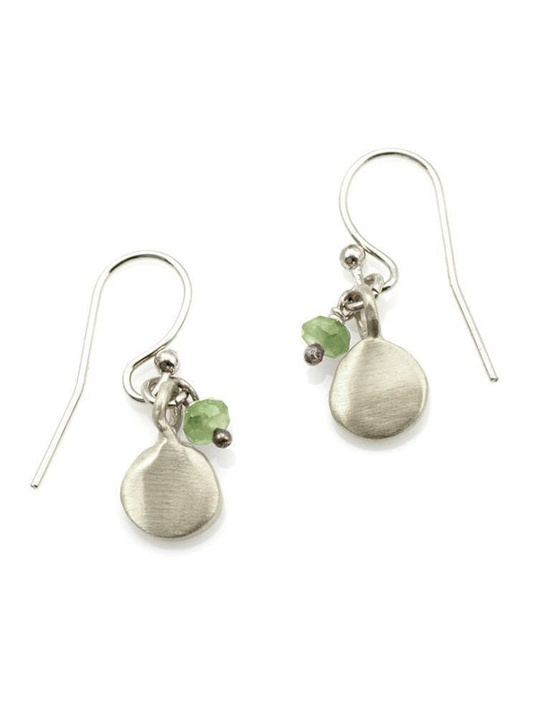 Small tab wih little peridot, silver earrings