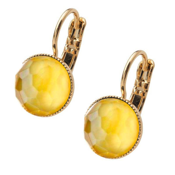 Pom Crystal Earrings Short Yellow