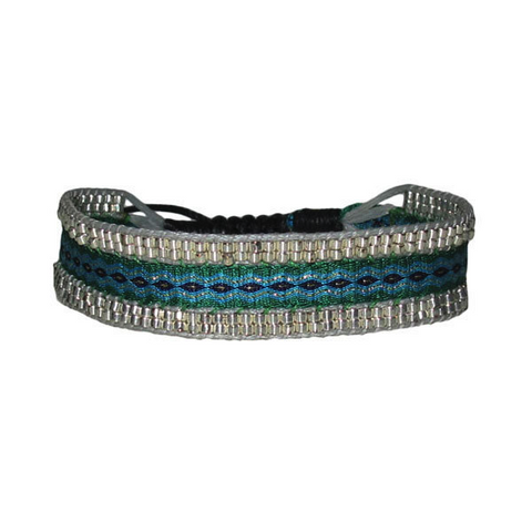 Creta Bracelet - Green and Blue with Black Diamonds