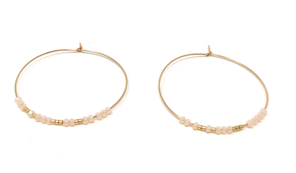 Pink with Gold Hoops