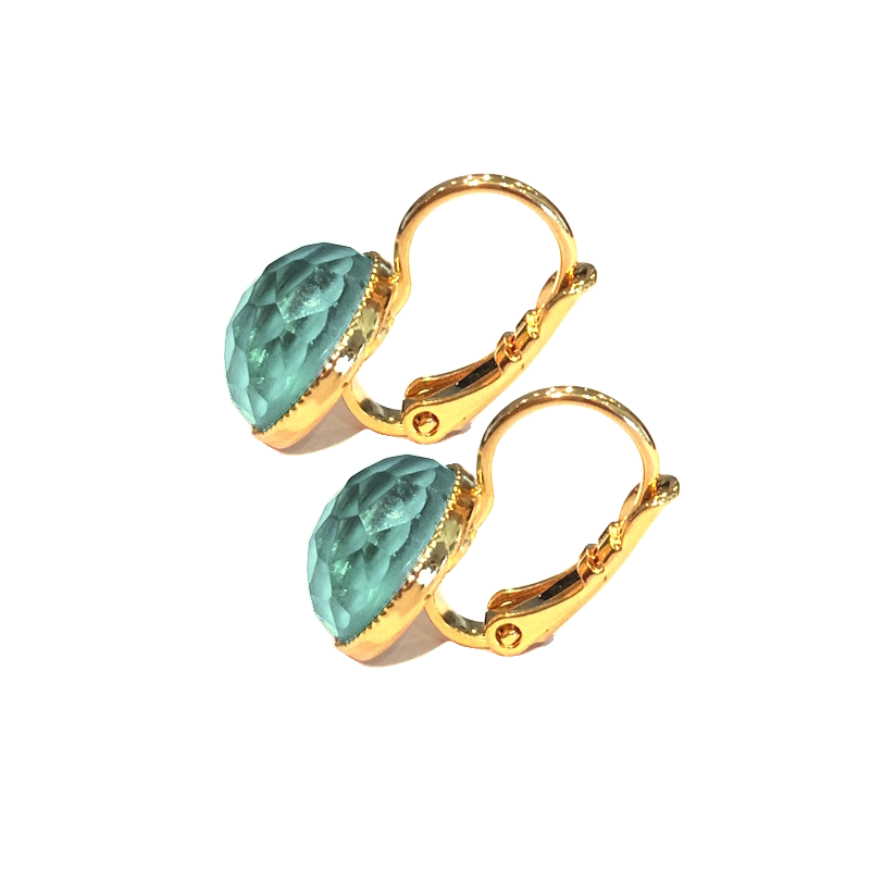 Pom Crystal Earrings Short Blue Green