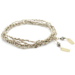 Jewelled Silk & Crystal Wrap - Silver and Beige