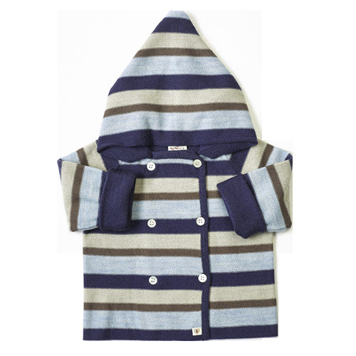 Multi Stripe Merino Jacket - French Navy/Cornflower Blue