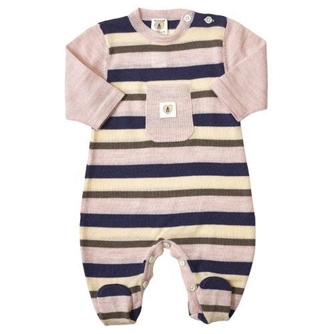 Multi Stripe Merino Snugglesuit - French Navy & Candytuft Pink