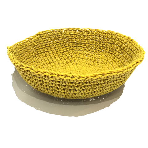 Crocheted & Resin Medium Hemp Bowl - Saffron Yellow