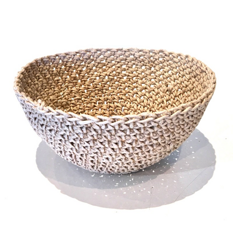 Crocheted & Resin Small Hemp Bowl - Champagne