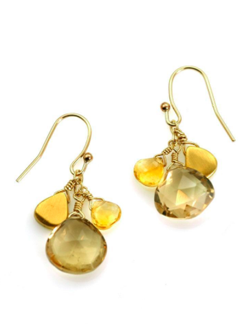 Citrine Cluster Earrings - Gold Vermeil