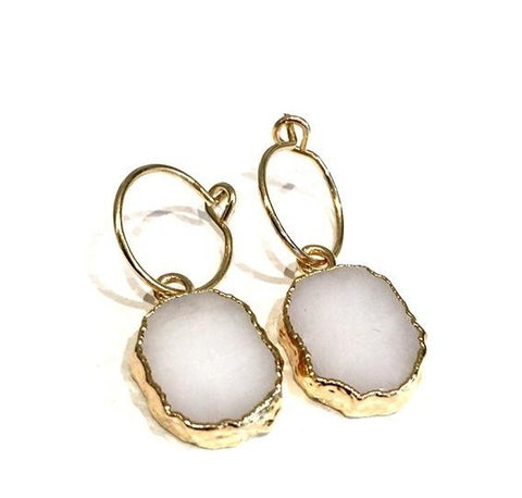 Kara Earrings - White Agate