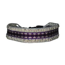 Beaded Creta Bracelet Purple, Black & Grey