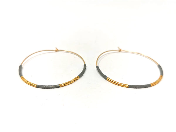 Grey and Gold Large Hoops