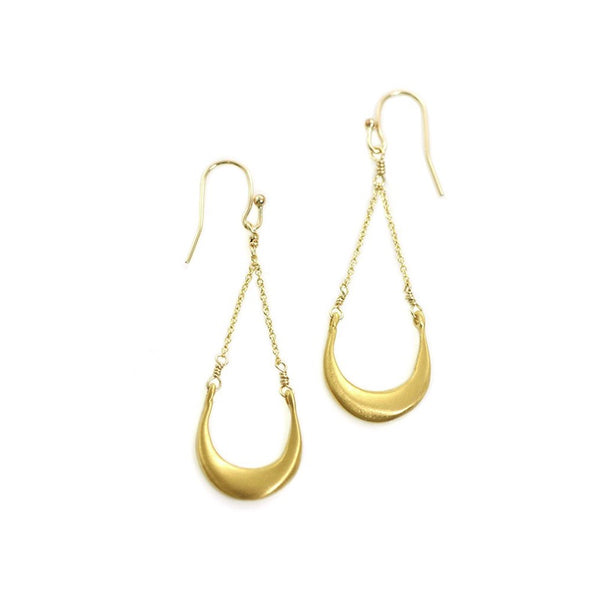 Crescent gold vermeil earrings