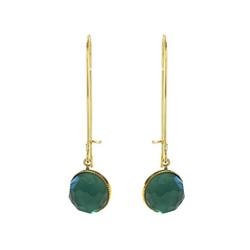 Pom Crystal Earrings Long Blue Green