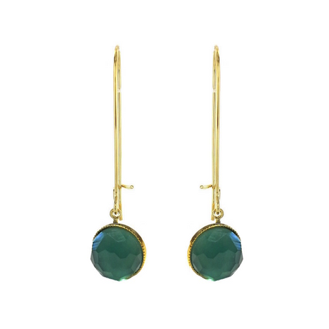 POM Earrings Long - Blue Green