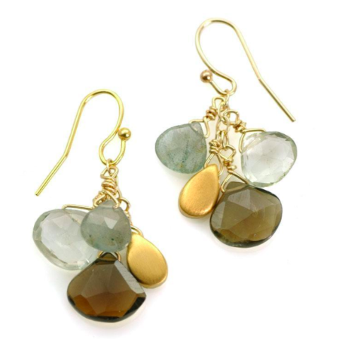 Green Amy, Moss Aqua, Whiskey Cluster Earrings - Gold Vermeil