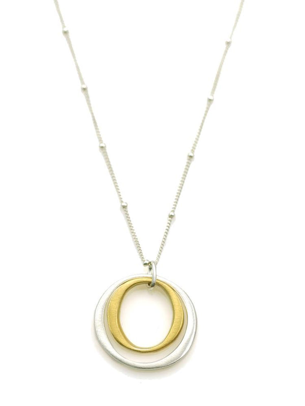 Silver & Vermeil Double Circles on Silver Necklace