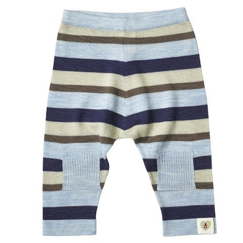 Multi Stripe Merino Pantlon - French Navy & Cornflower Blue