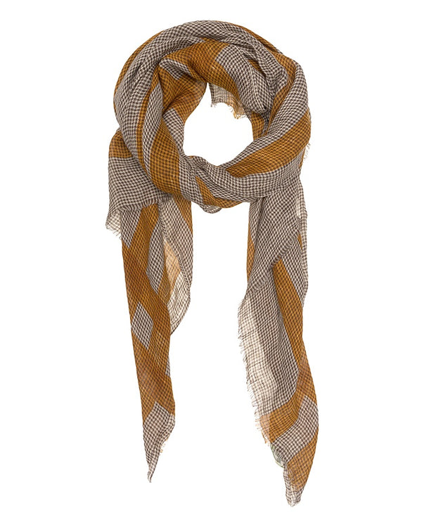 Pure Linen Scarf Fabric Mustard