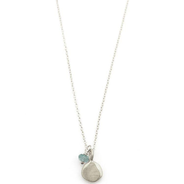 Small Tab with Little Aquamarine Silver Necklace