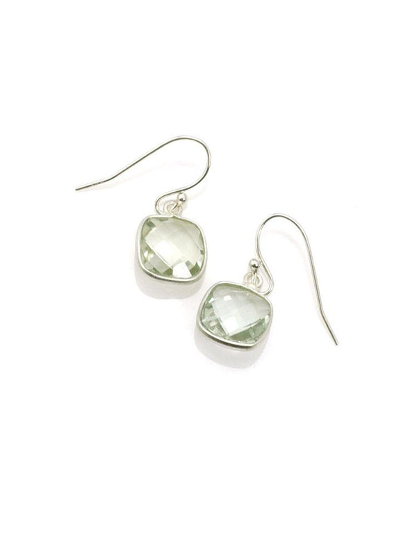 Square Green Amethyst Earrings