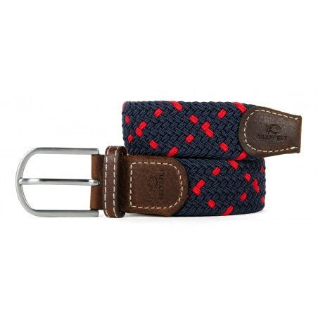 Dark blue and red criss cross patern on braided elastic belt with brown leather detail