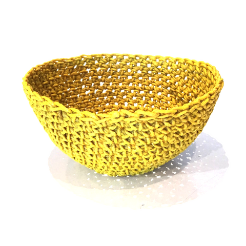 Crocheted & Resin Small Hemp Bowl - Saffron Yellow