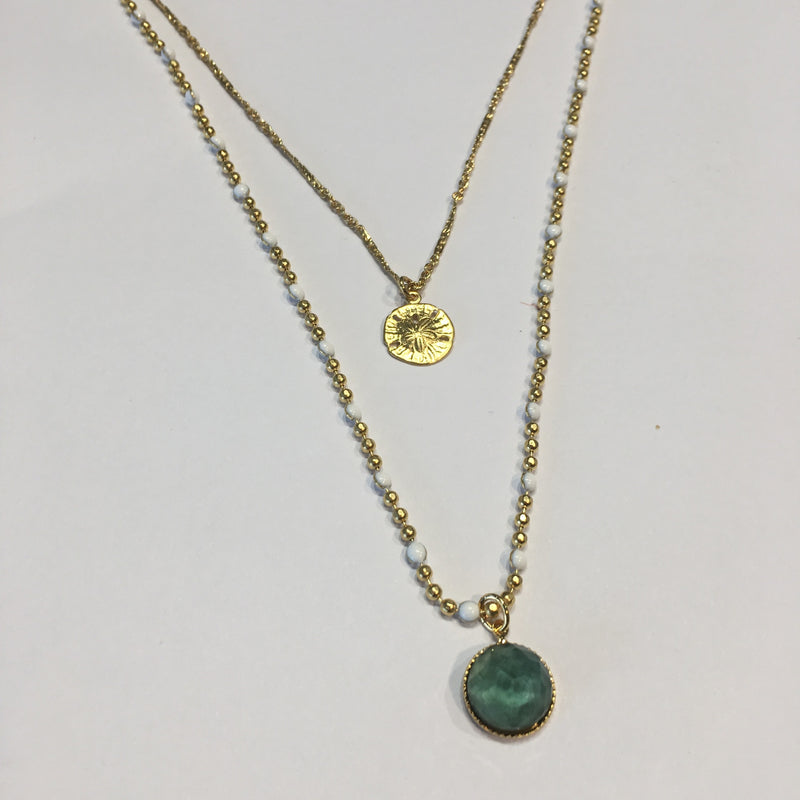 Double Chain Necklace Blue Green