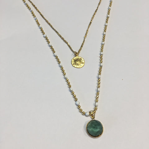 POM Double Chain Necklace - Blue Green