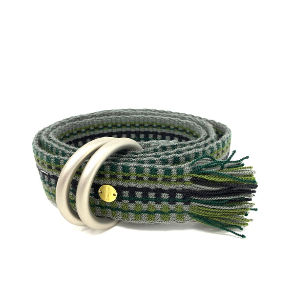 Woven Belt with Fringe Green & Navy
