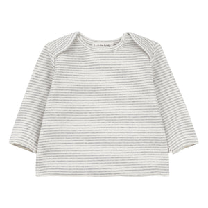 Grey and white striped top for baby