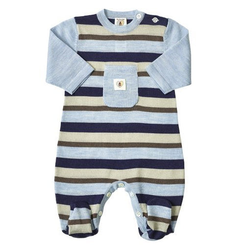 Multi Stripe Merino Snugglesuit - French Navy & Cornflower Blue