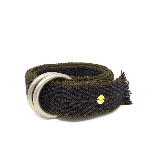 Woven Belt with Fringe Navy & Brown