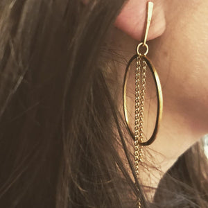 Justine Long Chain Earrings Gold