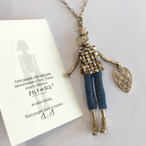Doll Necklace - Crowned Cat Blue Jeans