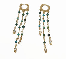 Load image into Gallery viewer, Celeste Triple Chain Earrings Turquoise