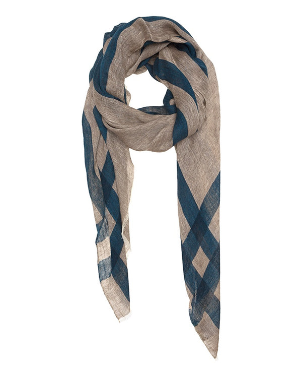 Pure Linen Scarf Fabric Navy