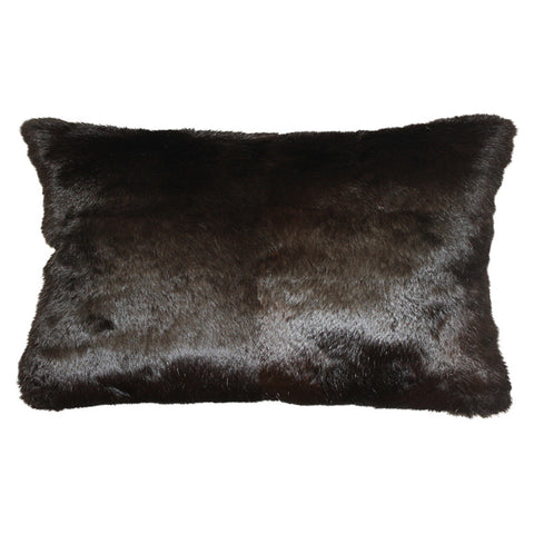 Rabbit Fur Cushion - Dark Brown Rectangle