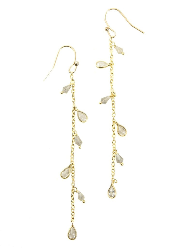 Chain with Quartz, Vermeil Earrings