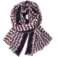 Load image into Gallery viewer, Wool Check Scarf Grape