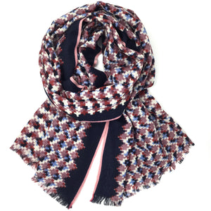 Wool Check Scarf Grape