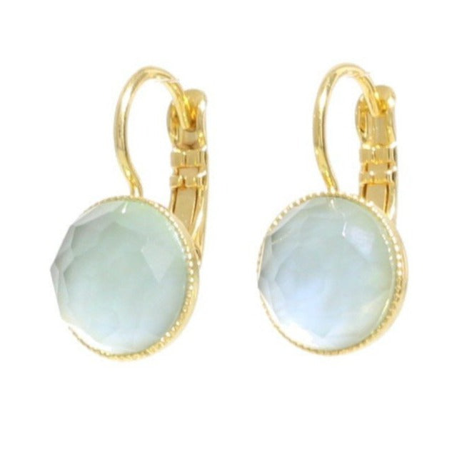 Pom Crystal Earrings Short Light Blue