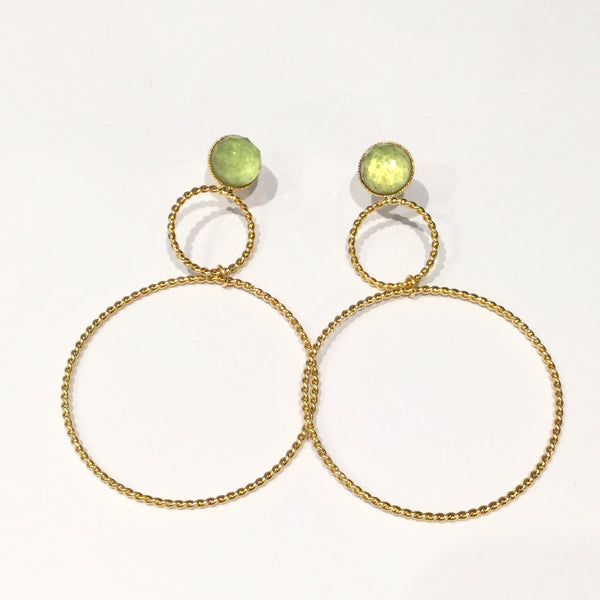 Double Hoop Crystal Earrings Light Green