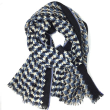 Load image into Gallery viewer, Wool Check Scarf Indigo