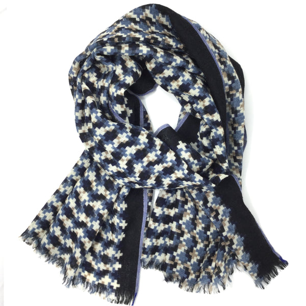 Wool Check Scarf Indigo