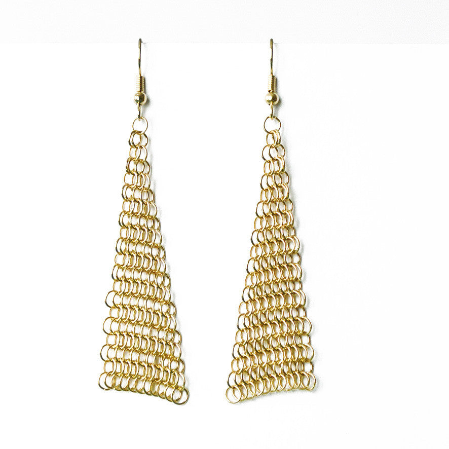 Collection B Chainmail Earrings - Gold