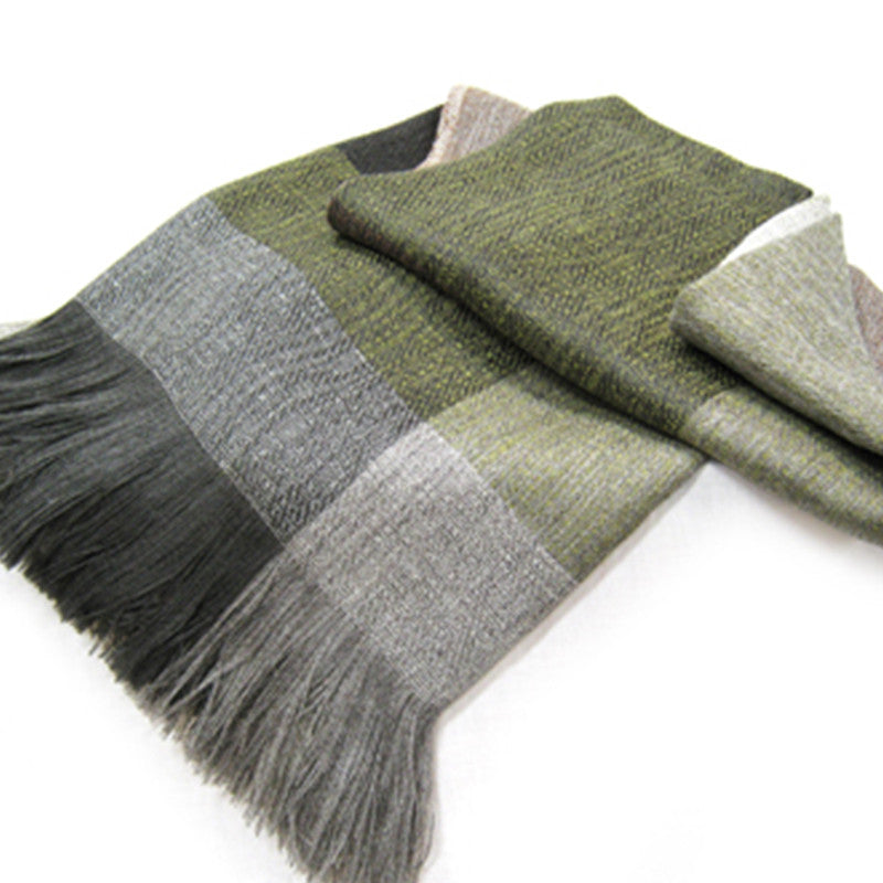 Grey Wool & Alpaca Throw - Moss