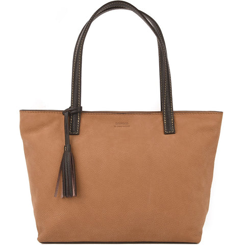 Eden Nubuck Leather Bag - Camel & Chocolate