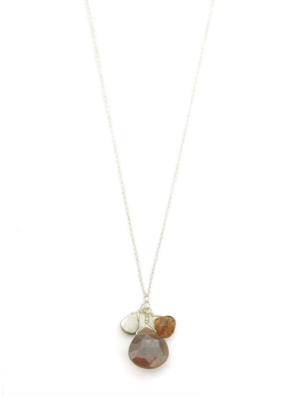 Chocolate Moonstone Andalucite Cluster Necklace - Silver