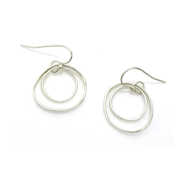 Organic Thin Double Circle Earrings - Silver